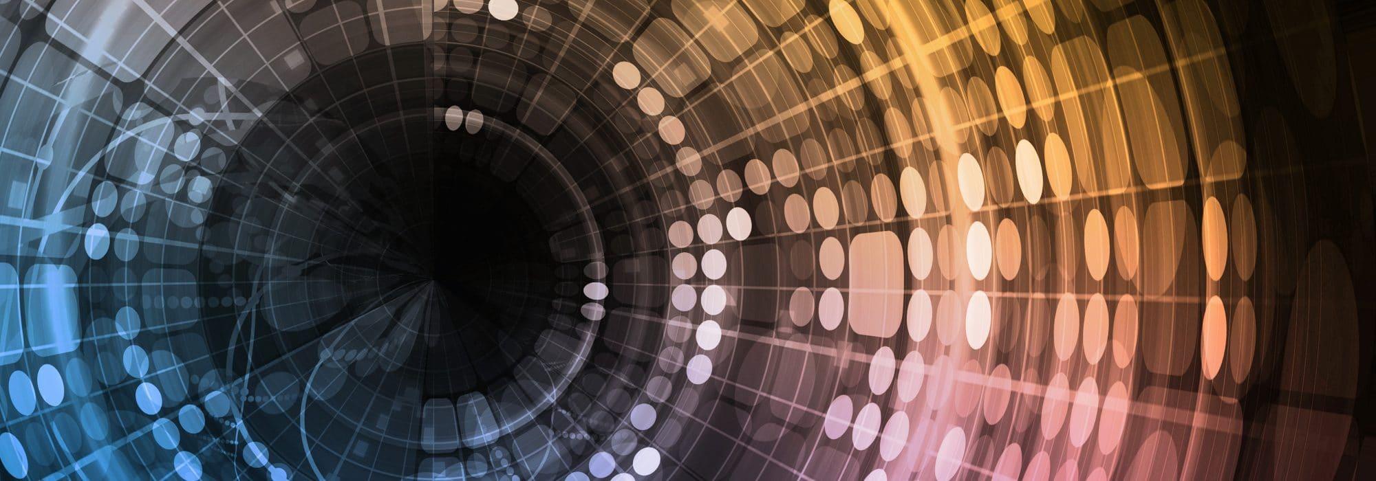 Visuel graphique, circulaire et dégradé de couleur pour représenter le cabinet IXIS