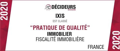 Visuel du classement reçu par le cabinet IXIS